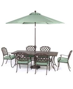 """Nottingham Outdoor Cast Aluminum 7-Pc. Dining Set (72"""" x 38"""" Dining Table and 6 Dining Chairs)"""