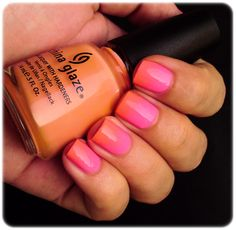 Pink + orange gradient nails. >> this would be cute for toes!  I think Zoya makes something similar