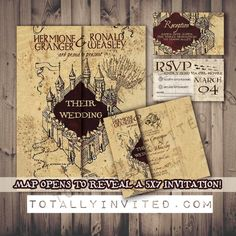 harry potter wedding invitation set marauders map printable diy geek wedding the perfect invite - Harry Potter Wedding Invitations