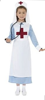 WW1 Nurse Costume, Blue, Dress, Mock Apron and Headpiece. Ideal for a historic themed fancy dress party and great quality