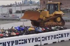 The New York City government has released a video showing the destruction of confiscated all-terrain vehicles, including off-road motorcycles, ATVs, and even scooters. Police bulldozers were used to crush what looked to be a few dozen vehicles that were collected on a waterside lot to be destroyed. In addition to the video on Facebook, the New Yo…