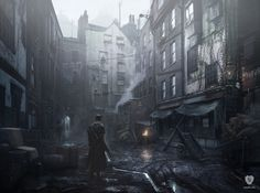#Whitechapel #Courtyard is an official concept #artwork for the #PlayStation #videogame #TheOrder : 1886 by #ReadyatDawn. This Certified Art Giclee print is a hand-numbered limited edition with gold embossed game logo.