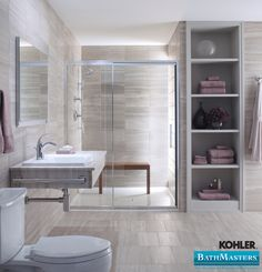 Modern, minimalist, natural stone, bathroom design for your dream bathroom. Brought to you by Kohler and Bathmasters.