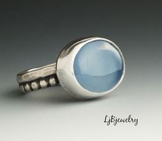 Silver Ring, Chalcedony Ring, Sterling Silver, Blue Chalcedony, Metalsmith, Handmade Jewelry, Genstones, Ring size 5.25