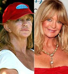 Goldie Hawn- at the link there are other stars without makeup. two things 1. wow, they look just like normal people without makeup 2. I really need someone to teach ME how to apply makeup to better myself like that!