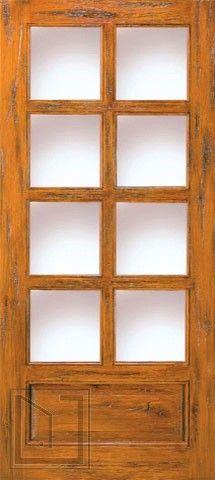 SW-68_1 Single Door Exterior Knotty Alder 8-Lite 1-Panel Southwest