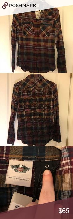 "NWT Harley Davidson Plaid Shirt Brand new with tags, official licensed Harley Davidson product. Shirt has that ""dip dye"" look with graphic design on the back. Harley-Davidson Tops Button Down Shirts"