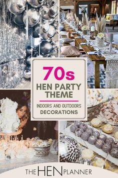 Looking for a very fun but stylish hen party theme decoration? You can make cool 70s themed hen party work both indoors and outdoors decoration. To pull off the gorgeous look, you need lots of flowers, rugs, blankets and cushions. The idea is to have everyone sitting down and chilling. If you can get your hands on some wooden pallets, these work great as a table. #henpartyideas #henpartdecoration, #glitzy70s 30th Birthday Party Themes, Hens Party Themes, 40th Party Ideas, Hen Party Decorations, 30th Party, Party Centerpieces, 21st Birthday, Hen Party Balloons, Baptism Party