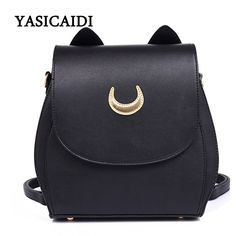 Backpacks  New Sailor Moon Black PU Leather Backpack Women Shoulder Rucksack 2017 School Bags for Teenage Girls Brand Sac A Dos Femme -- Clicking on the VISIT button will lead you to find similar product