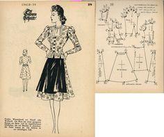 1940s (1941) German Women's Dress Lutterloh 1941B-39