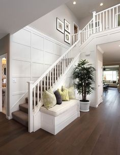 Windrift at River Islands - beach-style - Staircase - San Francisco - Brookfield Residential Northern California Staircase Wall Decor, Staircase Remodel, Staircase Design, Staircase Architecture, Staircase Ideas, Modern Staircase, Staircase With Landing, Staircase Pictures, Small Staircase