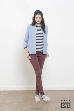 cute outfit. blue, maroon & stripes