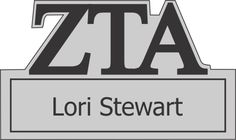 Zeta Tau Alpha Cut Out Greek Letter Name Tag #zetataualpha #zta #sorority