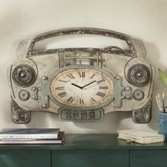 "Mechanical Assemblage Car Clock from Seventh Avenue ® Brown and gray painted composite wood with distressed finish. 30 1/4"" w x 19 1/2"" h x 2"" d."