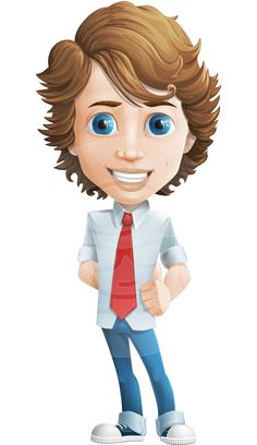 Blueeyed male character, casually dressed with a tie. Vector graphic, coming with more than 100 different poses in a set. Easy to modify to suit your design needs #graphicmama