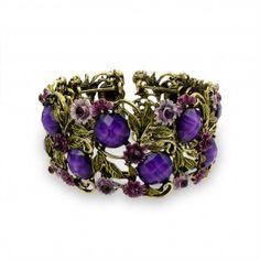 Bling Jewelry Amethyst Color Purple Crystal Garden Flower Cuff Bangle Bracelet