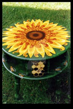 Sunflower Accent Table by ReincarnationsDotCom
