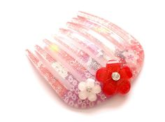 Kimono fabric plastic comb with cabs pink white and red by Aya1gou, $5.80