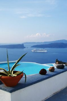 View from Akrotiri, Santorini, Greece