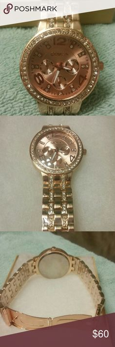 """Geneva Ladys Wrist Watch Luxury womens stainless steel wristwatch.  Brand new without tags  Rose gold color, casual quarts watch. Total length 24cm Band is 2cm """"Geneva"""" Geneva Accessories Watches"""