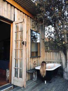 Outdoor Bathtub, Outdoor Bathrooms, Indoor Outdoor, Outdoor Showers, Outdoor Spaces, Outdoor Living, Bruny Island, Tiny House Trailer, Little Gardens