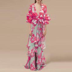 Sexy Deep V Neck Floral Printed Lantern Sleeve Shift Maxi Dress – Aqilabuy Fashion 2017, Fashion Dresses, Tropical Dress, Chic Dress, Maxi Dress With Sleeves, Ladies Dress Design, Types Of Fashion Styles, Dress Brands, Spring Summer Fashion