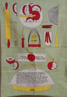 VERA APPLE PIE RECIPE Lg DISH TOWEL NEW GREEN VINTAGE LINEN LOOK YELLOW RED