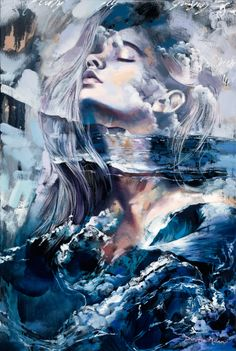 Breath of Providence, an original oil painting of a woman and monochromatic ocean by Dimitra Milan