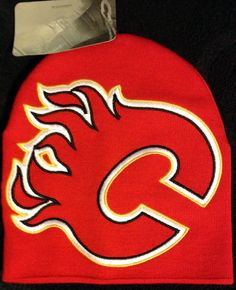 CALGARY FLAMES REEBOK FACE OFF KNIT STOCKING CAP HAT ADULT NWT FREE SHIPPING #Reebok #CalgaryFlames