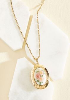 Garden My Heart Necklace. Protect whats closest to you within the gold shell of this floral locket necklace - a ModCloth exclusive! #gold #modcloth