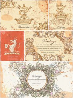 Vintage elements frame set vector | CGIspread | Free download