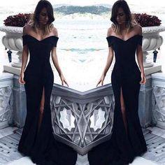 Off The Shoulder Black Mermaid Prom Dress,Long