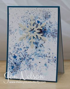 The Tiny Blue Butterfly: September 2014 Snowflake card. Could CAS this card with Gorgeous Grunge.