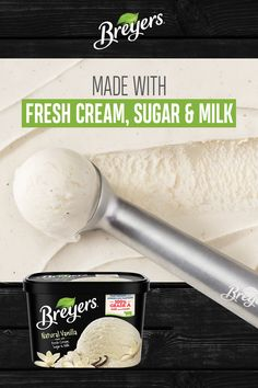 Breyers® Natural Vanilla, our original vanilla recipe, is made with the simplest ingredients. Its distinctive taste pairs perfect with freshly baked desserts. Frozen Yogurt Recipes, Vanilla Recipes, Homemade Vanilla, Homemade Ice Cream, Sweet Recipes, Fresh Fruit Desserts, Ice Cream Desserts, Ice Cream Recipes, Puddings