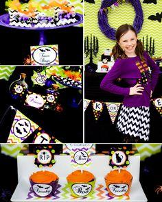 Fabulous DIY green and purple Halloween party decoration ideas. Halloween Theme Birthday, Halloween Party Decor, Halloween Themes, Halloween Pumpkins, Halloween Stuff, 3rd Birthday, Birthday Ideas, Halloween Sweet 16, Purple Halloween