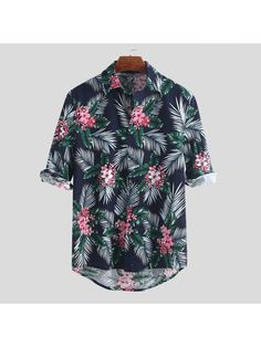 ChArmkpR Mens Hawaiian Holiday Floral Printed Linen Cotton Turn Down Collar Half Sleeve Loose Shirts Best Online - NewChic Half Sleeve Shirts, Half Shirts, Loose Shirts, Half Sleeves, Men's Shirts, Camisa Floral, Achkan, Gay Outfit, Floral Print Shirt