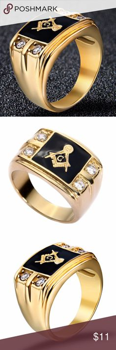 MASONIC RING Men fashion Gold Stainless Steel AAA Item: Men's Masonic Ring   Metal Type: Stainless Steel Tusk 316L   Finish: 14k Ion Plated Gold   Size:6 Gemstone: AAA Grade Cubic Zirconia   Stone Detail: 3mm (.45 ct total)   Ring Width: 15mm top - 5mm bottom   Approx Weight: 10.8 grams INCLUDED: 1PC + RANDOM GIFT Accessories Jewelry