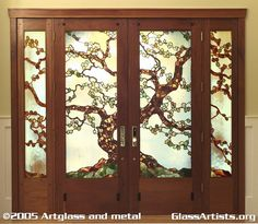 Arts and Crafts Tree leaded and wood project for private residence