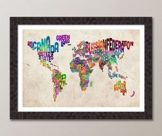 Typographic Text Map of the World Map, Art Print Poster - Canvas Wall Art, Canvas Prints, Art Prints, Wall Mural, Quote Canvas, Framed Prints, Big Canvas, Wall Maps, Quote Wall