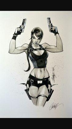 J Scott Campbell Lara Croft Tomb Raider J Scott Campbell, Art Manga, Manga Anime, Comic Books Art, Book Art, Tomb Raider Lara Croft, Sexy Cartoons, Comics Girls, Comic Art Girls