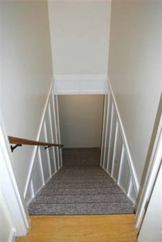 Great DIY renovation to brighten stairs down to the basement with before and after shots.