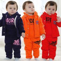 Fall Winter Children Clothing Little Boy Fashion Casual Spliced Fleece Suit Baby Kid Velvet Warm Clothing Twinset 2 Pcs Set G373