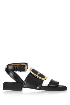 Givenchy Oversized buckle sandals in black leather   NET-A-PORTER