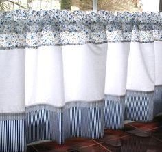 Modrobílé záclonky 132 x 50