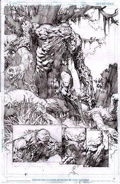 David Finch - Swamp Thing  Gosto muito da forma como os cenários e Monstro do Pântano estão interligados. A narrativa dos quadros abaixo dá um sabor especial pra esse quadro enorme.