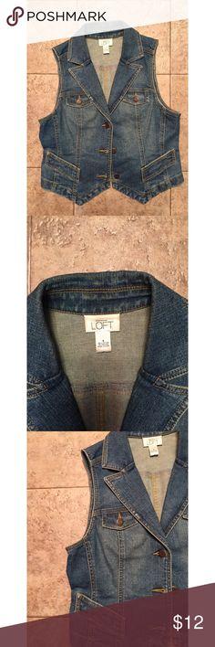ANN TAYLOR LOFT Denim Jean Cowgirl Vest Sz M Ann Taylor Denim jean Vest. In great condition with no defects Ann Taylor Jackets & Coats Vests