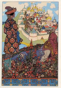 "Ivan Bilibin, ""The Island of Buyan,"" iIllustration for Alexander Pushkin's 'Tale of the Tsar Saltan' 1905"