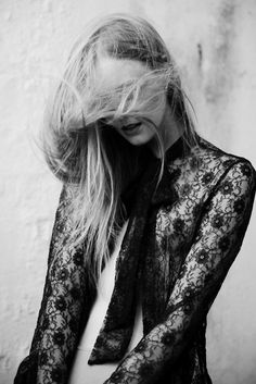 wind in the hair   long sleeve vintage style black lace shirt   black & white fashion editorial   i love this shot