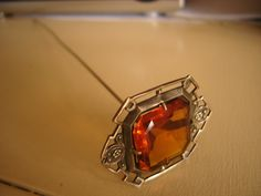 Arts Crafts Long Antique HATPIN Amber Glass❤❤❤