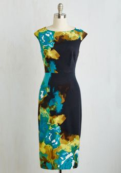 RSVP Ready Dress. Now that you have this black sheath dress in your wardrobe, youre ready for soirees, showers, and fetes - oh my! #multi #modcloth